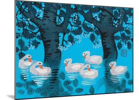 Six Swimming Swans--Mounted Giclee Print