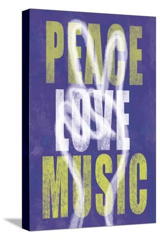 Peace, Love, Music-Erin Clark-Stretched Canvas Print