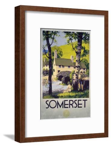 Somerset Boy and Girl by Bridge--Framed Art Print