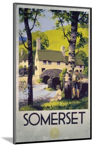 Somerset Boy and Girl by Bridge--Mounted Art Print