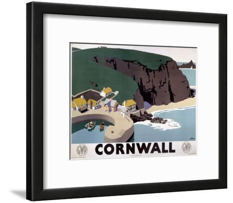 Cornwall Cliff and Harbour--Framed Art Print
