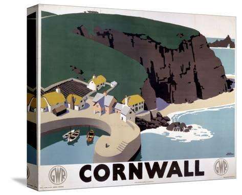Cornwall Cliff and Harbour--Stretched Canvas Print