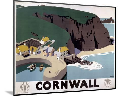 Cornwall Cliff and Harbour--Mounted Art Print