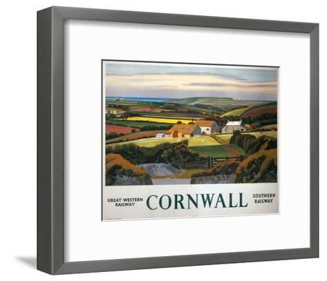 Cornwall Landscape and Cottage--Framed Art Print