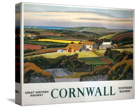 Cornwall Landscape and Cottage--Stretched Canvas Print
