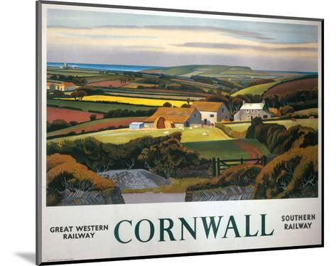 Cornwall Landscape and Cottage--Mounted Art Print