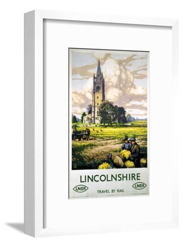 Lincolnshire Farmers and Church--Framed Art Print