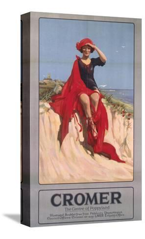 Cromer Girl with Red Material--Stretched Canvas Print