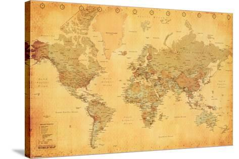 World map vintage style poster by the new art world map vintage style stretched canvas print gumiabroncs Gallery