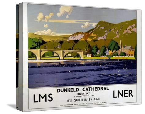 Dunkeld Cathedral, River Tay, LMS/LNER, c.1923-1947-Norman Wilkinson-Stretched Canvas Print
