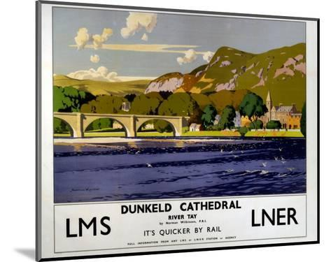 Dunkeld Cathedral, River Tay, LMS/LNER, c.1923-1947-Norman Wilkinson-Mounted Art Print