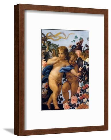 Cherubs with Garland of Flowers, Detail-Carlo Maratti-Framed Art Print