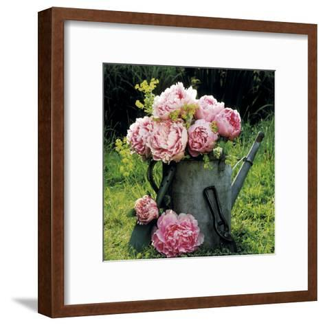 Watering Can And Peonies-James Guilliam-Framed Art Print