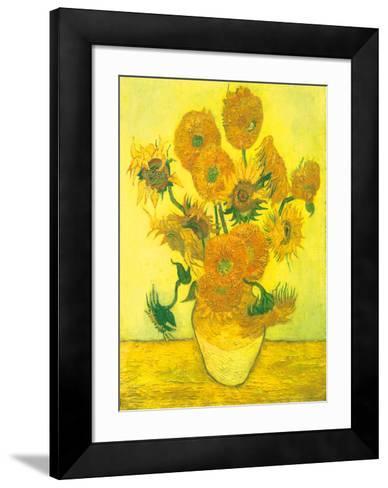Still Life, Vase With Fifteen Sunflowers-Vincent van Gogh-Framed Art Print