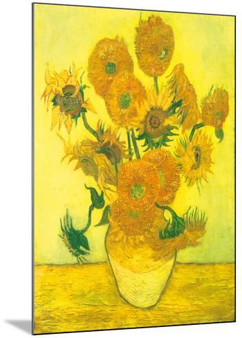 Still Life, Vase With Fifteen Sunflowers-Vincent van Gogh-Mounted Art Print