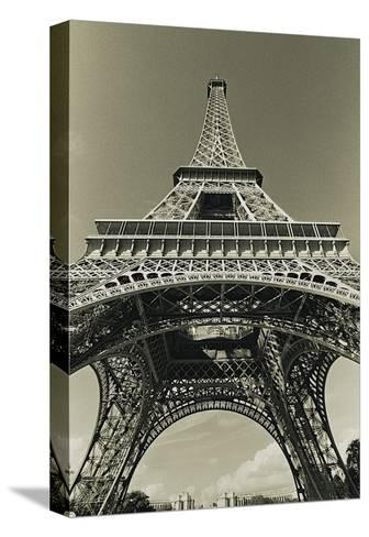 Eiffel Tower Looking Up-Christian Peacock-Stretched Canvas Print