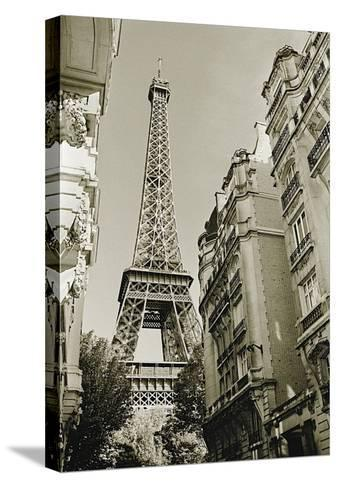 Eiffel Tower Street View, no. 1-Christian Peacock-Stretched Canvas Print