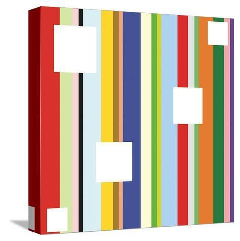 White Square on Stripe (detail)-Dan Bleier-Stretched Canvas Print