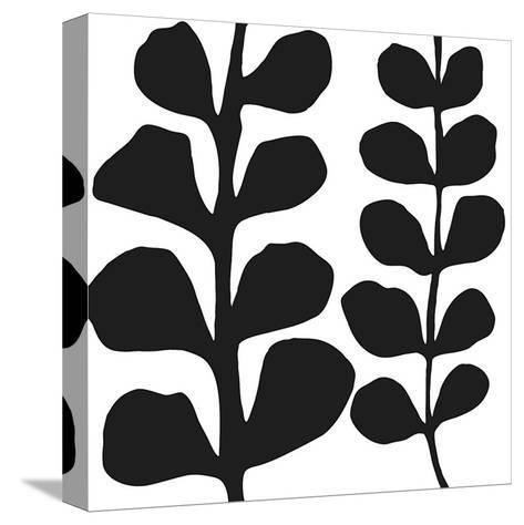 Maidenhair (black on white)-Denise Duplock-Stretched Canvas Print