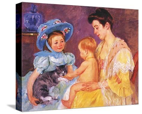 Children Playing with a Cat-Mary Cassatt-Stretched Canvas Print