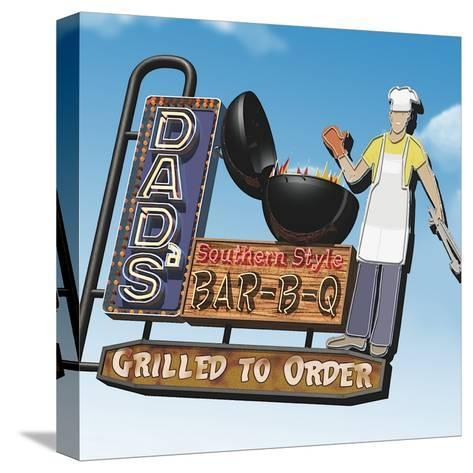 Dad's Southern Style Bar-B-Q-Anthony Ross-Stretched Canvas Print