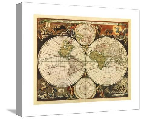 New World Map, 17th Century-Visscher-Stretched Canvas Print