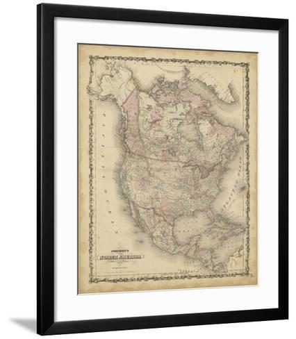 Johnson's Map of North America--Framed Art Print