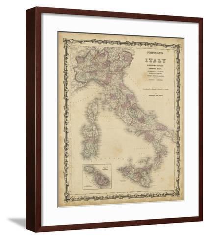 Johnson's Map of Italy--Framed Art Print
