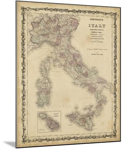 Johnson's Map of Italy--Mounted Giclee Print