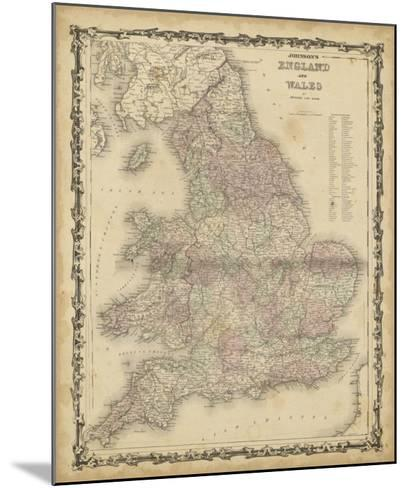 Johnson's Map of England & Wales--Mounted Giclee Print
