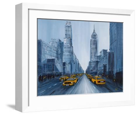 Yellow Cabs, New York-Geoff King-Framed Art Print