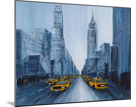 Yellow Cabs, New York-Geoff King-Mounted Giclee Print