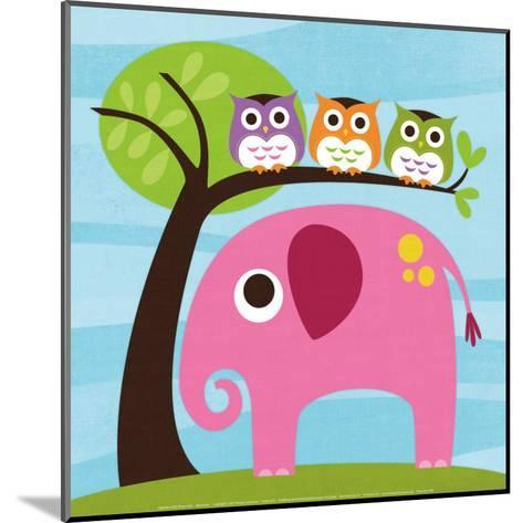 Elephant with Three Owls-Nancy Lee-Mounted Art Print