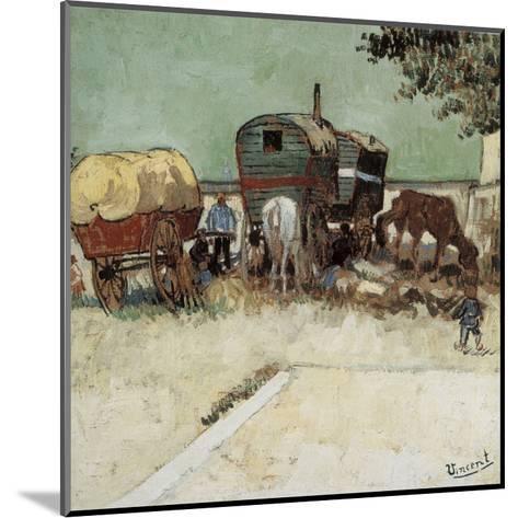 Les Roulottes, Campement De Bohémiens-Vincent van Gogh-Mounted Art Print