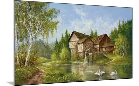 Mill With Swans-Helmut Glassl-Mounted Art Print
