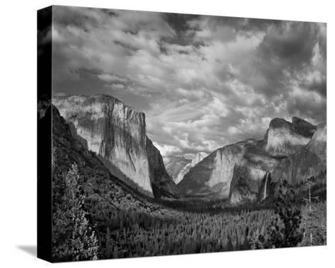 Yosemite Tunnel View Black and White I-Danny Burk-Stretched Canvas Print
