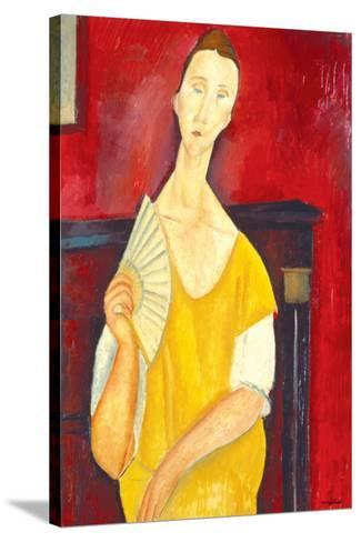 Woman with a Fan-Amedeo Modigliani-Stretched Canvas Print
