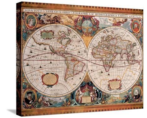 Antique Map, Geographica, c.1630-Henricus Hondius-Stretched Canvas Print