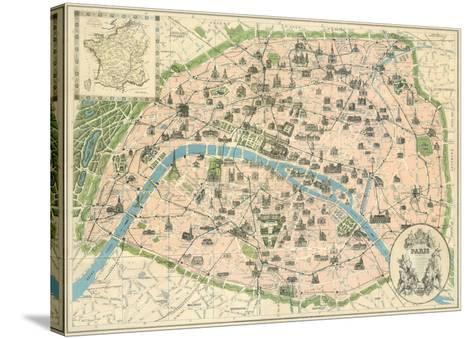 Vintage Paris Map-The Vintage Collection-Stretched Canvas Print