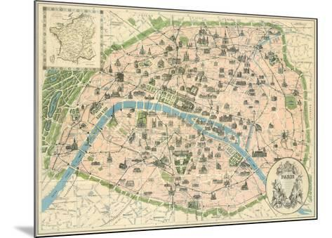 Vintage Paris Map-The Vintage Collection-Mounted Art Print