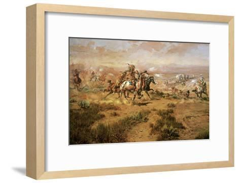 The Attack On The Wagon Train-Charles Marion Russell-Framed Art Print