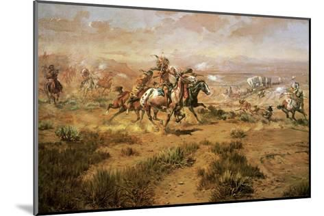 The Attack On The Wagon Train-Charles Marion Russell-Mounted Art Print