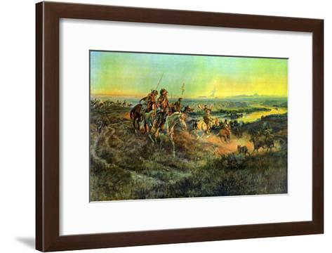 Salute of the Robe Trade-Charles Marion Russell-Framed Art Print