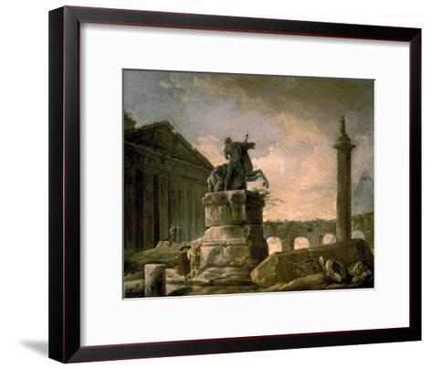 Architectural Landscape with Obelisk-Hubert Robert-Framed Art Print