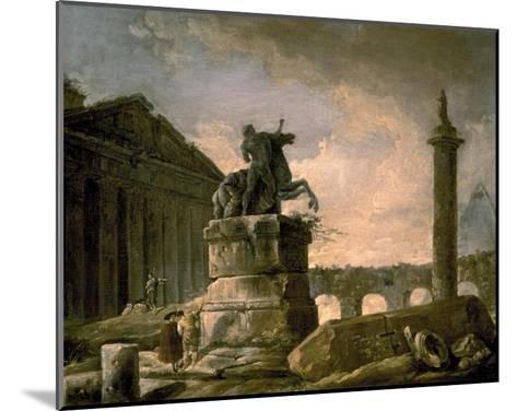 Architectural Landscape with Obelisk-Hubert Robert-Mounted Art Print