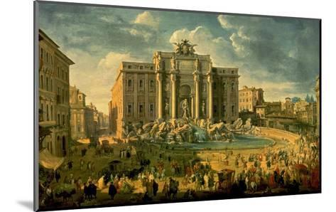 The Trevi Fountain in Rome-Giovanni Paolo Pannini-Mounted Art Print