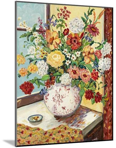 Flowers in Red and White Vase-Suzanne Etienne-Mounted Art Print