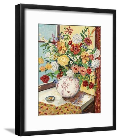 Flowers in Red and White Vase-Suzanne Etienne-Framed Art Print