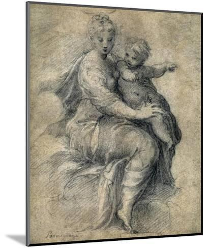 Madonna and Child on the Clouds-Parmigianino-Mounted Art Print