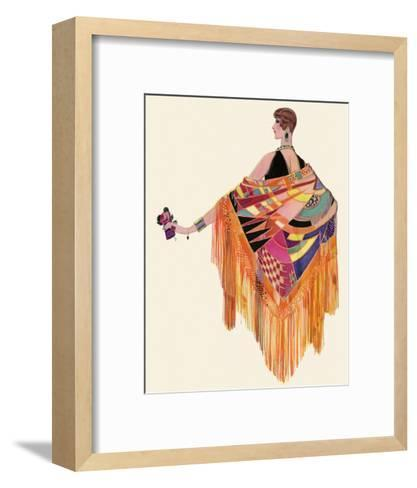 Art Deco Lady in a Colourful Dress--Framed Art Print